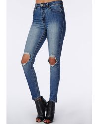 Missguided Rip Knee Mid Rise Jeans - Lyst