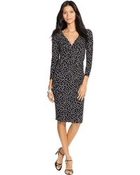 Lauren by Ralph Lauren Surplice Polka-Dot Dress - Lyst