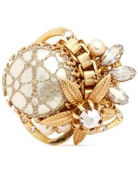 Miriam Haskell Caged Baroque Pearl Crystal Flower Ring - Lyst