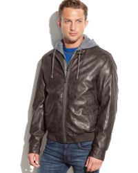 Michael Kors Michael Big And Tall Logan Hooded Faux-Leather Bomber - Lyst