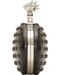 Alexander McQueen Black Studded Skull Knuckle Box Clutch - Lyst