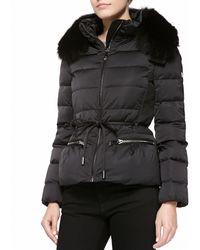 Diane von Furstenberg Short Down Jacket With Fox Fur Trim - Lyst