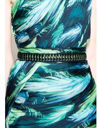 Matthew Williamson Palm Chiffon Embroidered Asymmetric Gown - Lyst