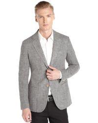 Giorgio Armani Grey Silk Blend Woven 2 Button Soho Blazer - Lyst