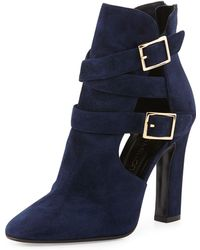 Tamara Mellon Suede Cutout Double-Buckle Ankle Boot - Lyst