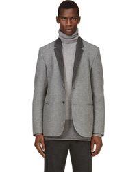 Calvin Klein Grey Wool Blazer - Lyst