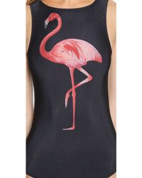Jo De Mer - Flamingo Pop Logo Maillot - Flamingo On Black - Lyst