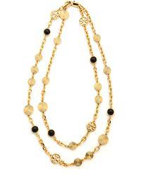 Tory Burch Livia Double Strand Necklace Blackshiny Brass - Lyst