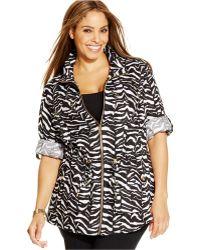 Calvin Klein Plus Size Linen Printed Utility Jacket animal - Lyst