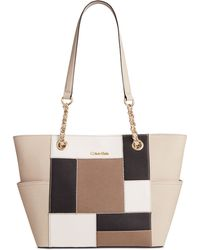 Calvin Klein   Patchwork Saffiano Leather Tote   Lyst