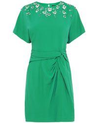 Karen Millen Hand Embellished Kimono Sleeve Dress green - Lyst
