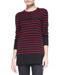 Tory Burch Seraphina Striped Wool Tunic Sweater - Lyst