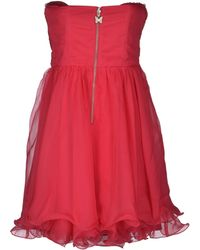 Lipsy Deep Neckline Crêpe Fuchsia Short Dress - Lyst