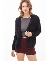 Forever 21 Fuzzy Knit Cardigan - Lyst
