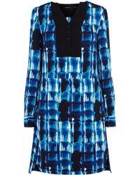 Karen Millen Graphic Print Crepe Shirt Dress - Lyst