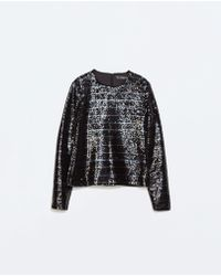 Zara Striped Top with Sequins - Lyst