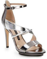 Zara Metallic Ballerina With Ankle Strap In Silver Lyst