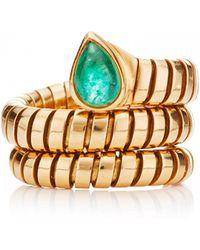 Portero 18k Yellow Gold and Peridot Vintage Bulgari Tubogas Ring - Lyst