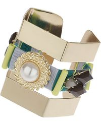 Topshop Thread Wrapped Cut Out Cuff  Green - Lyst
