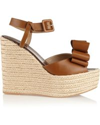 Valentino Leather Espadrille Wedge Sandals - Lyst