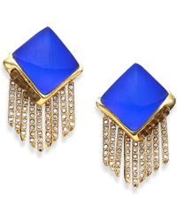 Alexis Bittar Sport Deco Lucite & Crystal Pyramid Spear Fringe Clip-On Earrings gold - Lyst