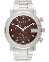 Gucci Diamond Stainless Steel Chronograph Bracelet Watch - Lyst