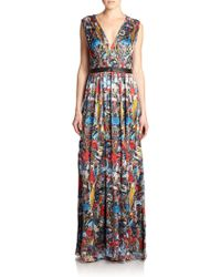 Alice + Olivia Triss Printed Silk Maxi Dress - Lyst