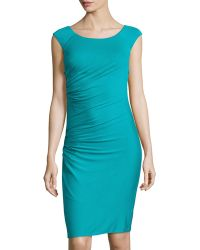 Versace Abito Donna Sleeveless Ruched Jersey Dress blue - Lyst