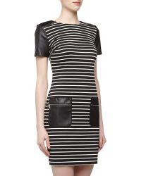 Ivy & Blu Striped Faux Leather Zipper Dress - Lyst