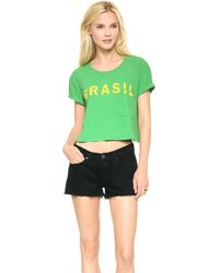 Textile Elizabeth And James Cropped Brasil Tee Greenyellow - Lyst