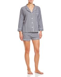 Marigot Collection - Marigot Black Check Short Pajama Set - Lyst