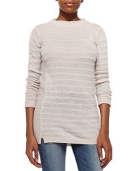 Rebecca Taylor Long Striped Cashmere Pullover - Lyst