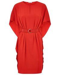 Paule Ka Belted Batwing Sleeve Crepe Dress - Lyst