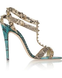 Brian Atwood Gaelle Studded Snake-effect Leather Sandals - Lyst