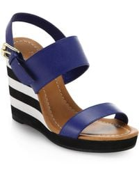 Kate Spade Bina Striped-Wedge Leather Sandals - Lyst