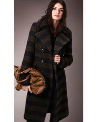 Burberry Needlepunch Stripe Wool Blend Coat - Lyst