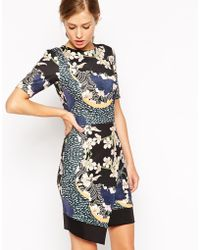 Asos Dress With Asymmetric Hem In Japanese Blossom - Lyst