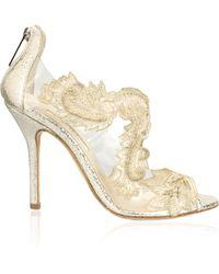 Oscar de la Renta Ambria Metallic Embroidered Sandals - Lyst