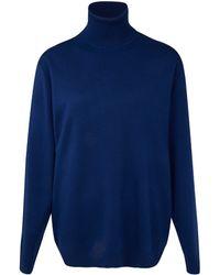 Edun Blue Panel Oversized Rollneck Merino Wool Jumper - Lyst