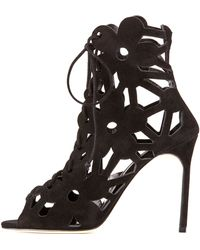 Manolo Blahnik Kahikalo Caged Suede Bootie - Lyst