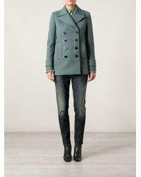 Gucci Metal Button Peacoat - Lyst