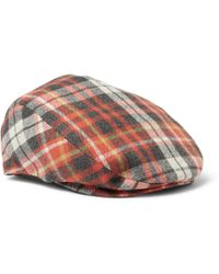 Junya Watanabe Plaid Wool-Blend Flat Cap - Lyst