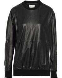 3.1 Phillip Lim Oversized Zipdetailed Leather Sweatshirt - Lyst