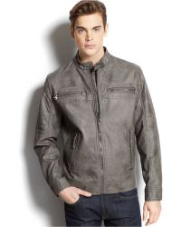 Calvin Klein Quilted Faux-Leather Moto Jacket - Lyst