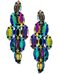 Material Girl - Blacktone Colorful Bead Diamondshaped Drop Earrings - Lyst