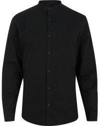 River Island Green Grandad Long Sleeve Brushed Shirt - Lyst