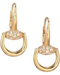 Gucci   Horsebit Diamond & 18k Yellow Gold Drop Earrings   Lyst