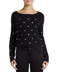 Dex Polka Dotted Cropped Knit Sweater - Lyst
