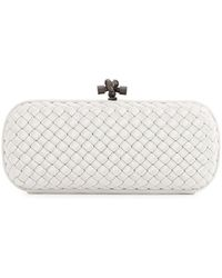 Bottega Veneta Woven Faille Large Knot Clutch Bag white - Lyst