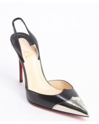 Christian Louboutin Black Leather Calamijane 100 Slingback Pumps - Lyst